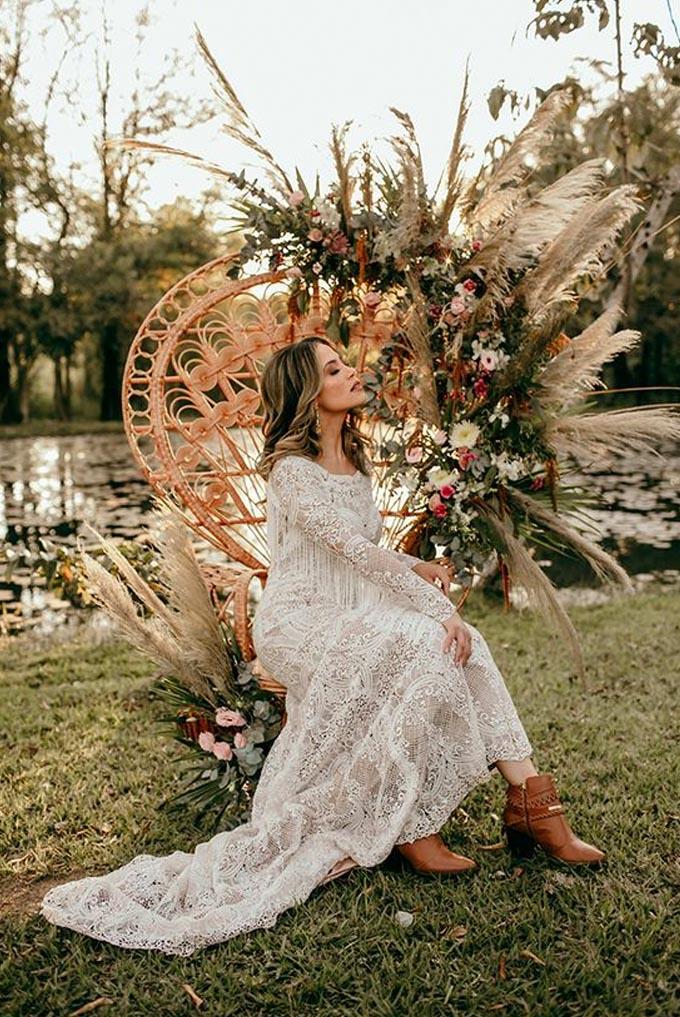 Vestido de noiva manga longa boho Cheers