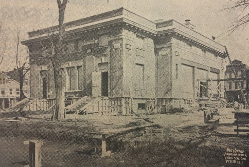 Feb. 1, 1911: Front entrance and roof take shape