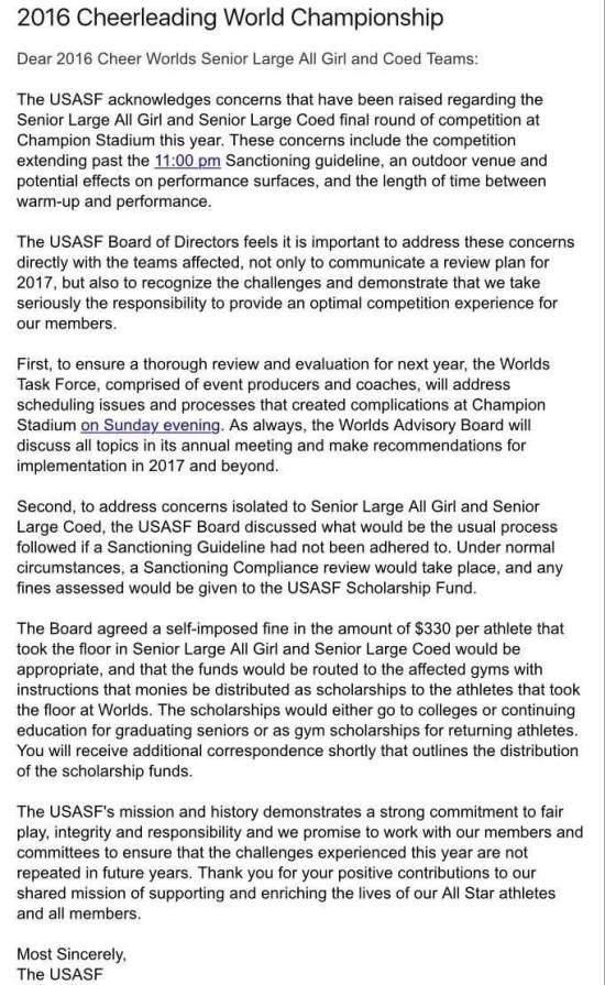 USASF Apology