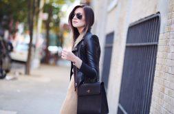 Leather jacket on a fine dress