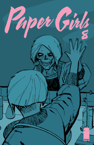 comic book paper girls #8 girl looking in mirror sees skull