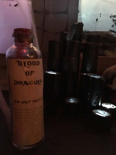 bottle with label that reads Blood of Dracula