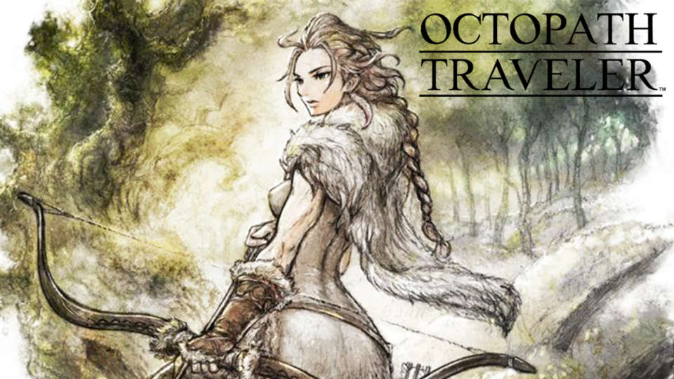 "drawing of woman holding a bow, text says ""octopath traveler"""