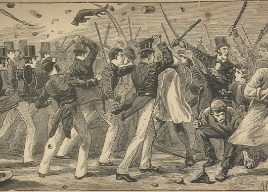 1886 engraving of a riot by members of the Chartist movement