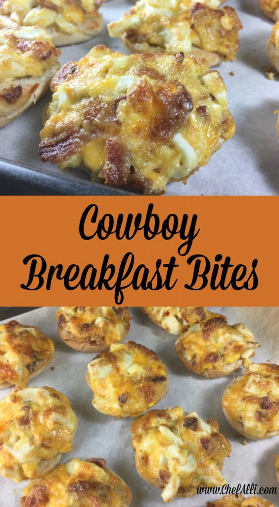 These Cowboy Breakfast Bites are such a great grab-and-go.  I usually make them with bacon, but feel free to use any kind of meat that's fully cooked and on hand, such as sausage, canadian bacon, ham, grilled steak, etc.