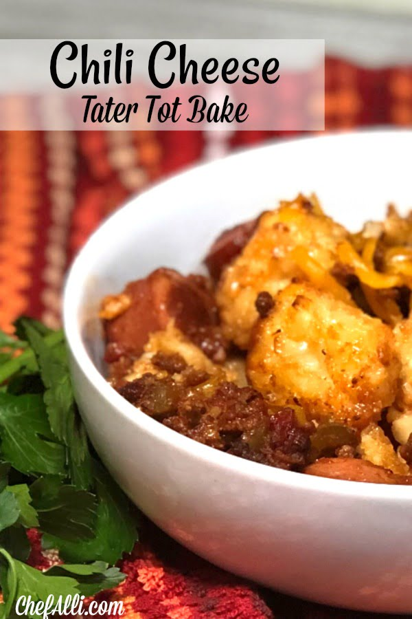 We absolutely love chili.....and cheese.... and tater tots! This Chili-Cheese Tater Tot Bake is the perfect casserole for comfort food cravings, a great make-ahead meal, or as your go-to potluck dish.