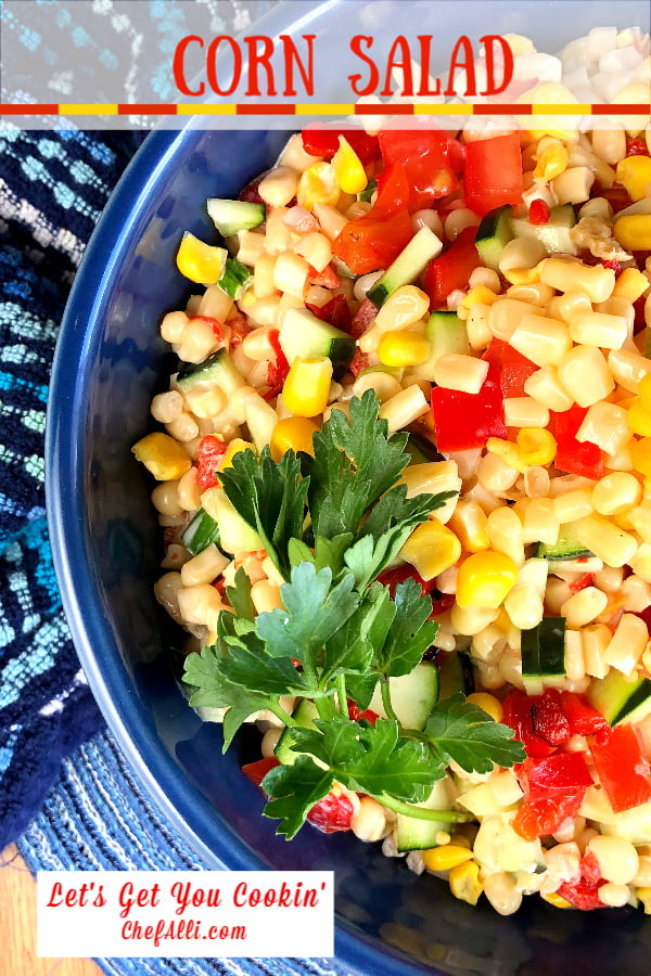 Corn Salad is a summer staple in our house and we adore this refreshing, crisp-and-creamy-all-at-the-same-time salad! We try to keep a big bowl of this corn salad in the fridge at all times during hot weather so we can grab a bowl full when we need something cool, tasty, and quick.