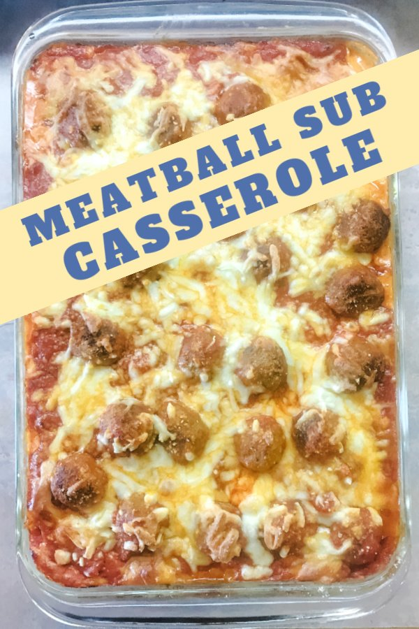 Full pan of meatball sub casserole with cheese and marinara.