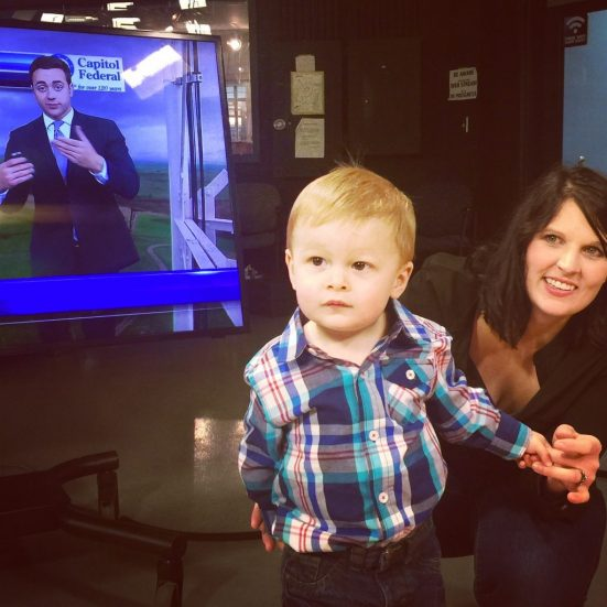 Wrenn Pacheco with her son, Leo. Oh, and weatherman Collin Meyer....