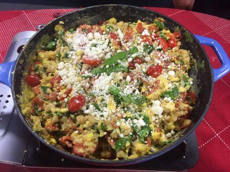 Geeky-Greek Quinoa Scrambled Egg Skillet