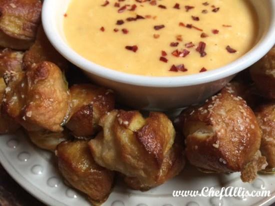 Pretzel Bites with Cheese Sauce | Chef Alli's Farm Fresh Kitchen