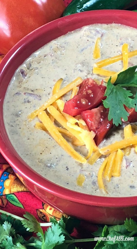 Oh. my. gosh. I couldn't stop eating this Low Carb Tex Mexican Soup today. I made a batch for my niece and her family and it was so yummy I came right home to make a pot for my family this evening! (And, yes, I realize it looks like queso, but that's A-okay in my book!) #hugehit #speedymeal