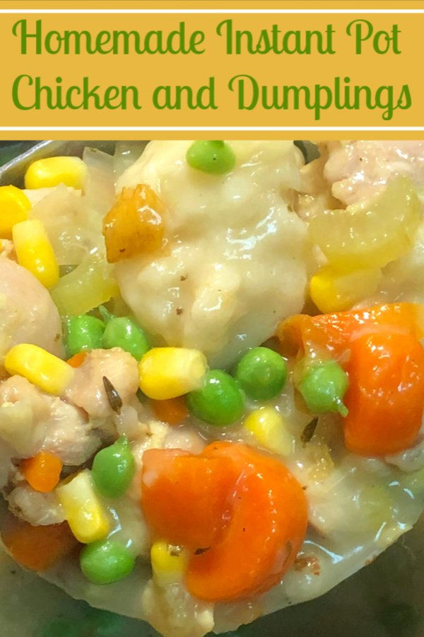 Close up shot of a ladle full of homemade chicken and dumplings with vegetables.