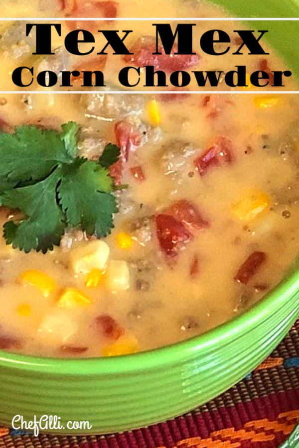 "Are you yearning for a super tasty ""dump and go"" soup? Dig into this hearty Tex Mex Corn Chowder!  This one-pot chowder is basic enough for the kids to love, yet complex enough for the grownups to enjoy as a well.  Pair it with corn muffins and a toasty fireplace for maximum warming effect! #cornchowder #chowder #soup #texmex #comfortfood"