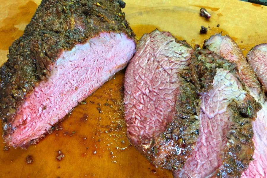 Tri Tip roast slices up into tender slabs of steak.