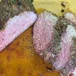 Medium rare tri tip roast is juicy and rich.