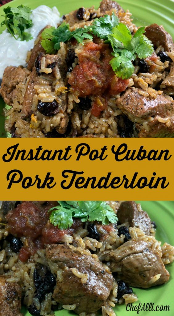 I love me some pork tenderloin!  This Cuban Pork Tenderloin recipe is one of my faves, especially since I can whip it up in NOTHING FLAT in my Instant Pot.  Plus, it's packed with flavor,  tender every time, and a colorful addition to my weekly menu! #instantpot #electricpressurecooking #porktenderloin