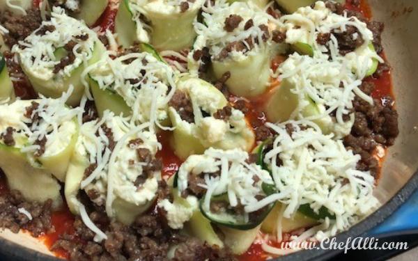Skillet Baked Zucchini Lasagna Roll-ups