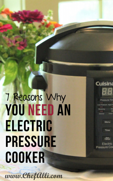 An Instant Pot with a list of 7 reasons why you need one.