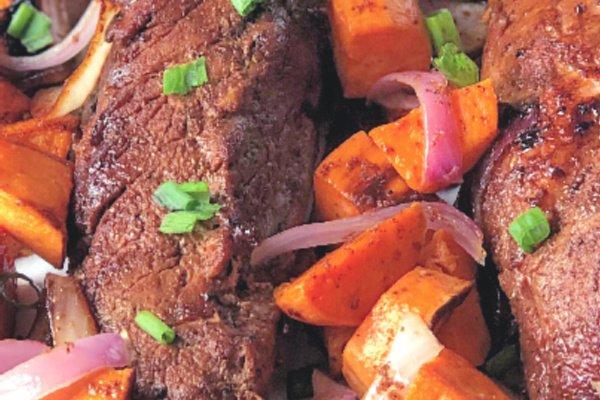 A roast pork tenderloin sheet pan supper makes a quick and easy meal.