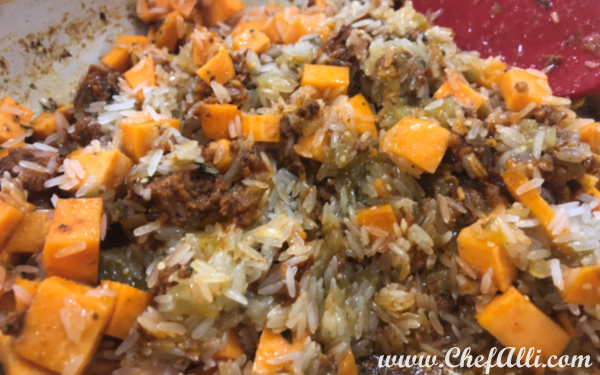 One-Skillet Mexican Chorizo, Sweet Potato, and Black Bean Rice Dinner