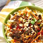 Asian beef bowl with vegetable slaw.