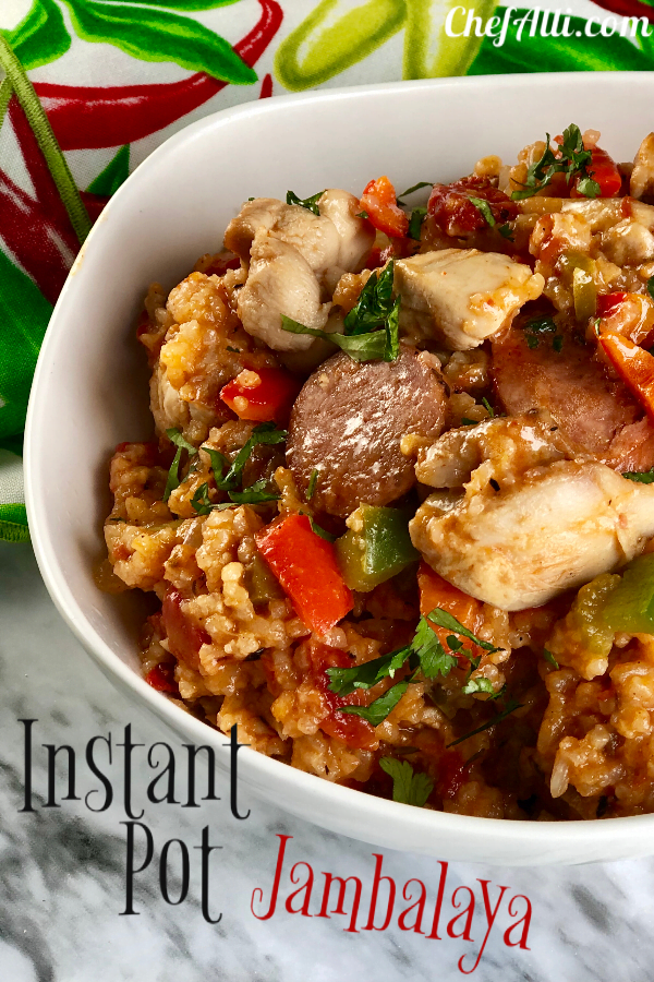 Who wants to spice up the ole dinner menu? I sure do! This Instant Pot Jambalaya Recipe does the trick and it's full of sausage, shrimp, rice and veggies - super fast comfort food that's oh-so-easy to make.