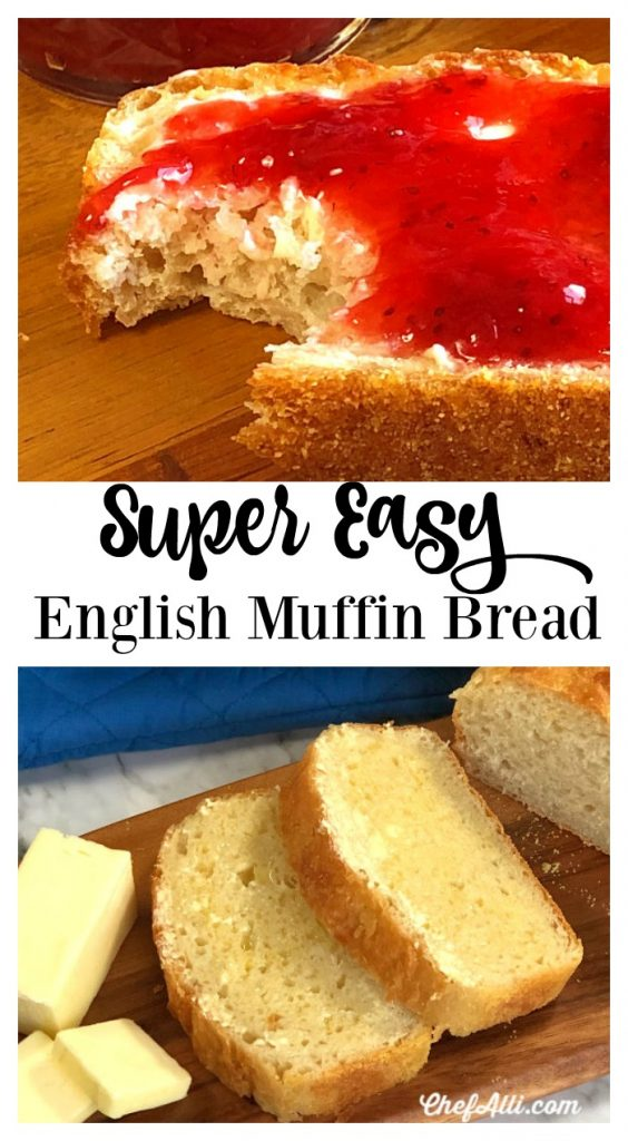 So here it is, folks! Easy English Muffin Bread....the no-knead, yeasty, chewy loaf of bread you will want to make again and again.
