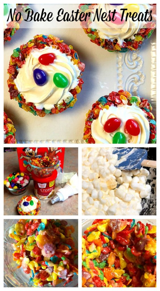 No-Bake Easter Nest Treats that are simple and easy to create. Top each nest with whipped frosting, add the candy eggs and away you go....adorably festive and fun for celebrating Easter with your kiddos.