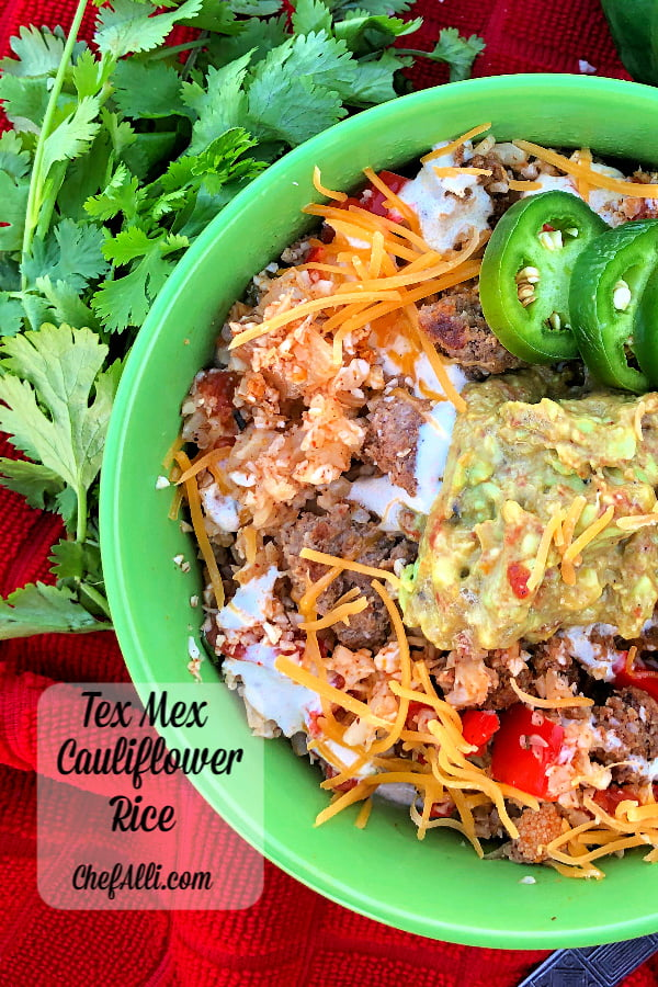 Yay, another one-skillet speedy meal for the win! This Tex Mex Cauliflower Rice with Ground Beef is so flavorful and filling - your family will love it and they will never notice that's it low-carb.