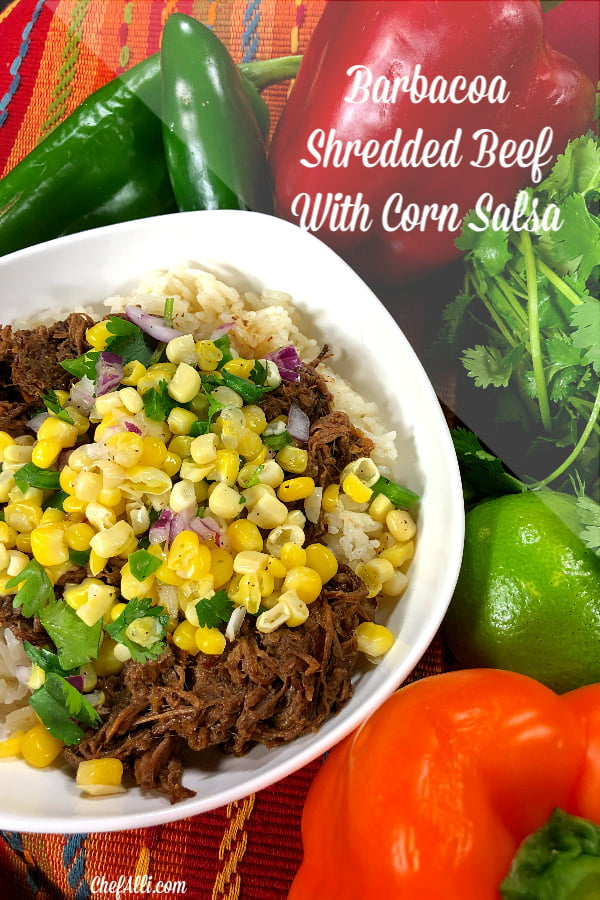 You are gonna love Barbacoa Shredded Beef! Spicy beef is braised in a blend of chipotle adobo, cumin, cloves, garlic, oregano and lime juice, served over rice.
