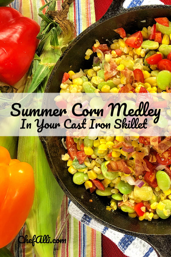 Cajun Sweet Corn Medley (aka Maque Choux in the deep South) is a traditional summer side dish that combines sweet corn and vegetables with BACON to make a tasty and colorful addition to any meal.