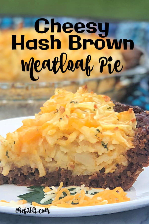 Cheesy hash browns piled high in a yummy meatloaf crust? Yes, please!! This one-pan meatloaf casserole is wildly popular at our house and my family never seems to tire of it. Made from basic on-hand ingredients, this Cheesy Hash Brown Meatloaf Pie comes together in a flash to make a nice big batch of delicious comfort food.  #Meatloaf #HashBrowns #Cheese #OnePan #ComfortFood #GroundBeef