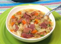 Bowl of Ham and Cabbage Soup.