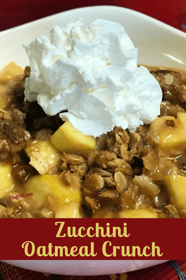 "What's more delightful than a warm bowl of Zucchini ""Apple Crisp""?"