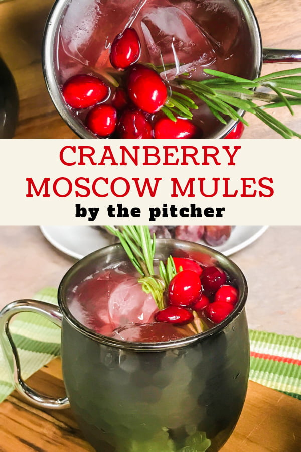 Cranberry Moscow Mules beverages with ice, cranberries, and rosemary sprigs.