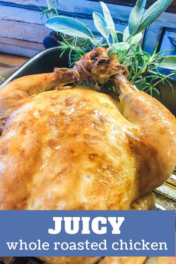 Crispy roast chicken with herbs.