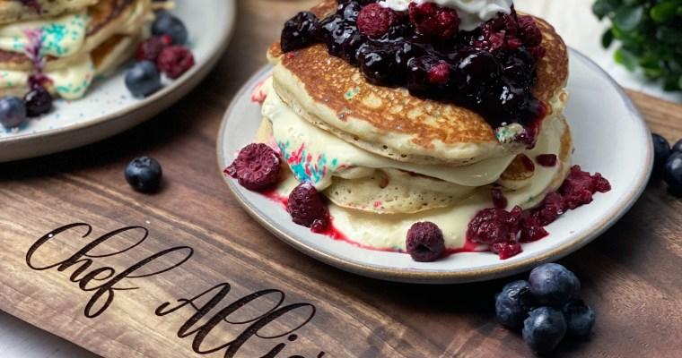 Berry Blast Pancakes With A  Lemon  Vanilla Cheesecake Filling