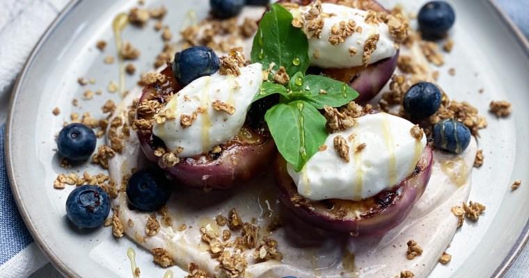 Grilled Maple Balsamic Nectarines With A Maple Cinnamon Yogurt & Granola Crisp