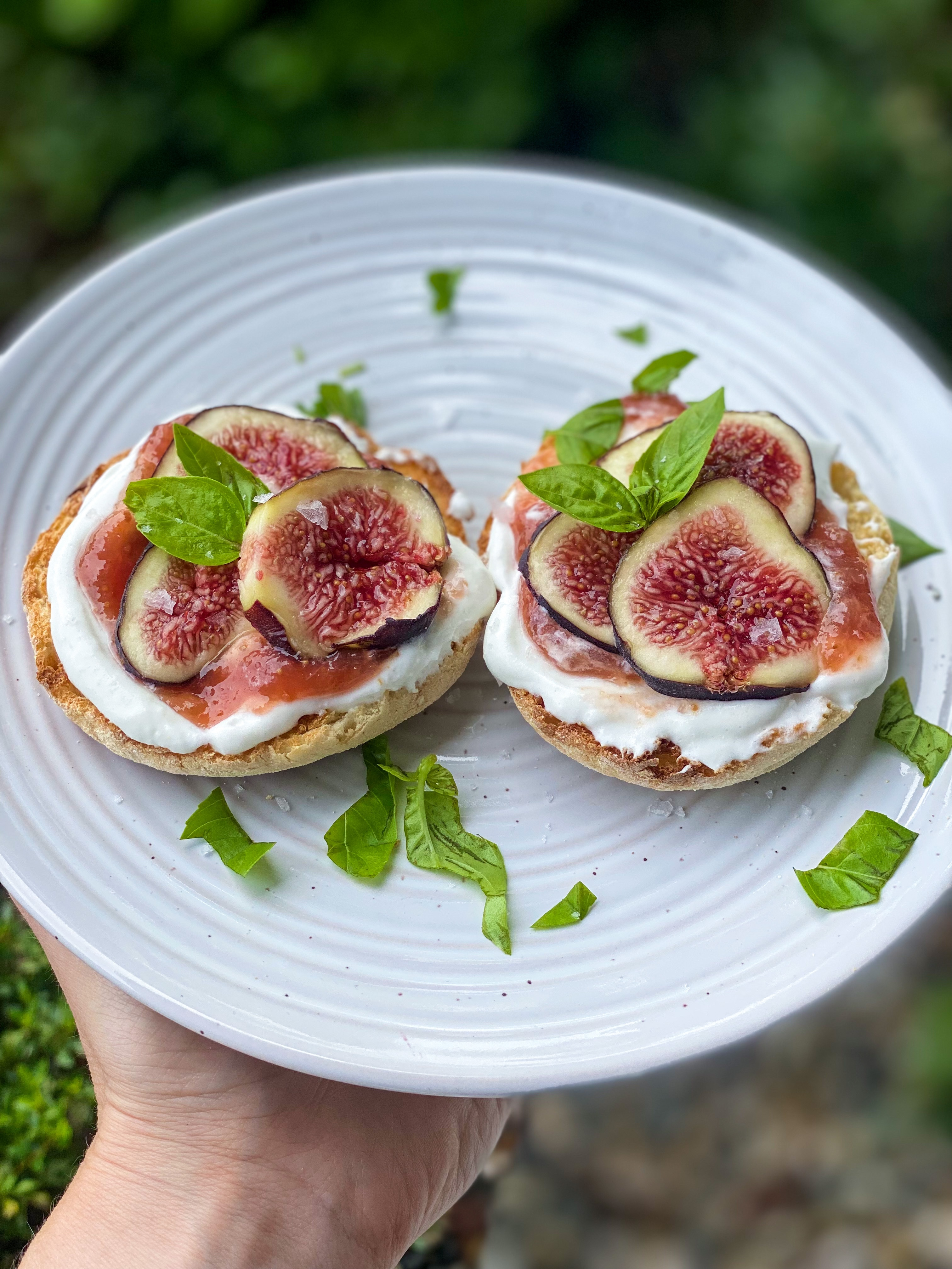 Toasted English Muffin With Whipped Cottage Cheese, Fig Jam, Fresh Sliced Figs And Fresh Basil