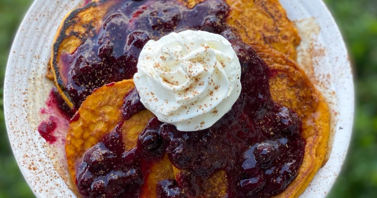 Pumpkin Spice Pancakes With My Blueberry Sauce