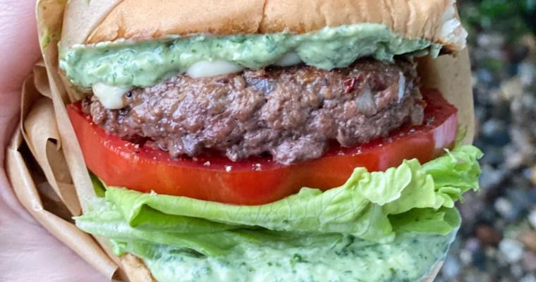 Chipotle Burger With My Spicy Avocado Crema