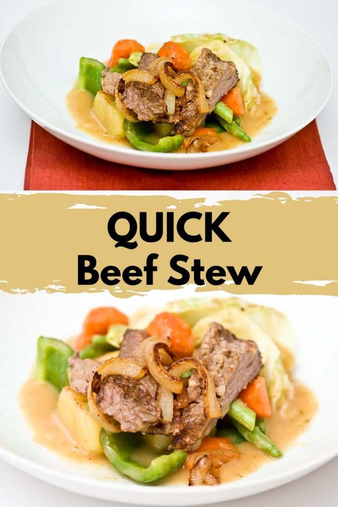 Beef Stew with graphics saying quick beef stew better than nytimes cooking recipe for pintrest