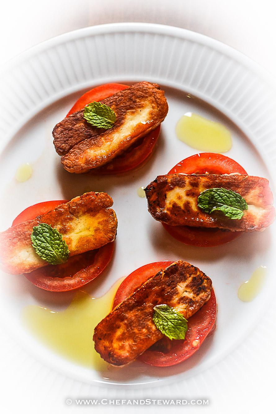 Fried Seared Halloumi and Tomato Salad Paleo Low Carb Keto-3