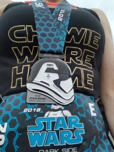 Star Wars Half Marathon - Dark Side 5K medal, April 2018
