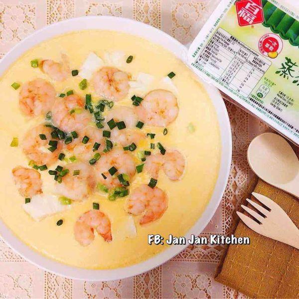 蝦仁豆腐蒸蛋 [簡易家常菜]