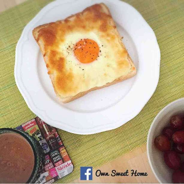 5分鐘零失敗早餐-火腿芝士焗蛋多士