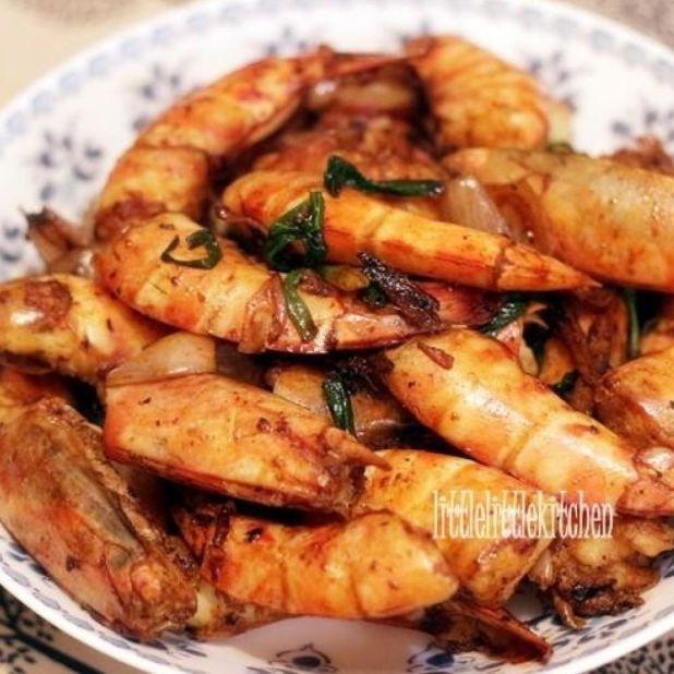 薑葱黑椒大蝦