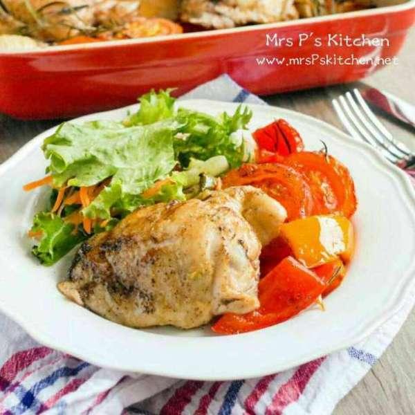 健康蔬菜烤雞