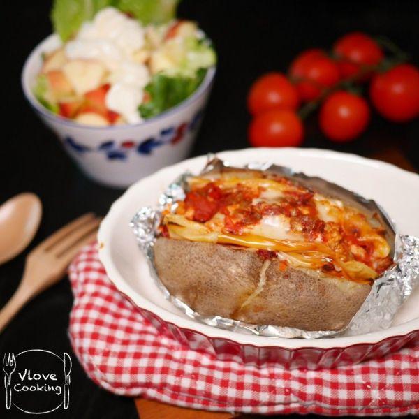 鮮茄芝士雞肉焗薯